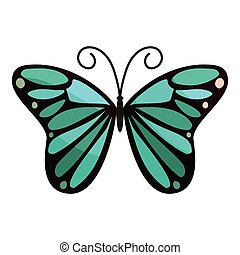 Bright butterfly icon, cartoon style
