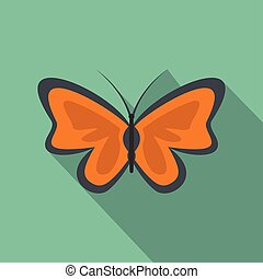Bright butterfly icon, flat style.
