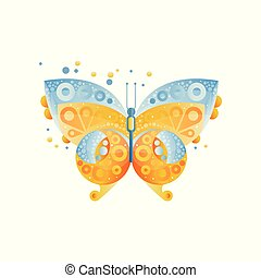 Bright butterfly with beautiful pattern on the wings. Blue and yellow. Original icon with gradients and texture. Flat vector element for postcard or notebook cover