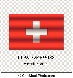 Bright button with flag of Swiss.
