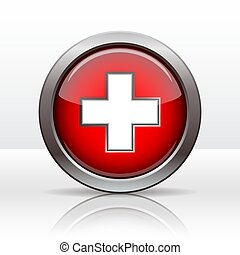 Bright button with flag of Swiss. Vector