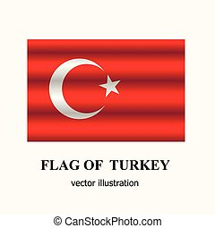 Bright button with flag of Turkey. Vector.