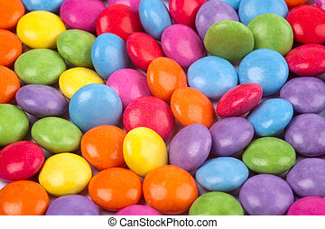 a bright and colourful selection of sugar coated candies