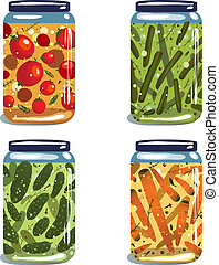 Bright Canned Pickled Vegetables Collection - Vector EPS8...