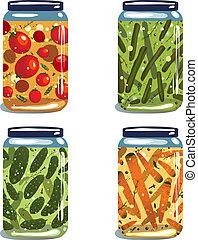 Vector EPS8 layered food illustration. Vegetables preserves set.