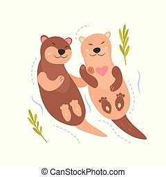 Bright card with cute otters in love