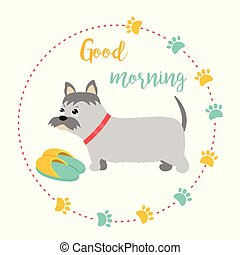 Bright card with terrier and text good morning