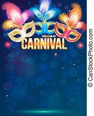 Bright carnival masks on dark blue background
