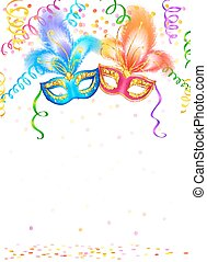 Bright carnival masks with confetti and serpentine on white...