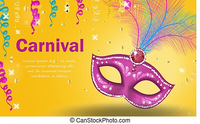 Bright carnival poster, invitation, greeting card. Masquerade Template for your design with mask feathers. Venetian carnival, Purim, Mardi Gras background. Vector illustration.