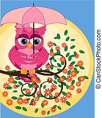 bright, cartoon, beautiful, pink owl with beautiful eyes sitting under an umbrella on a flowering branch of a tree