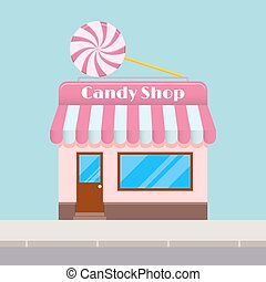 Bright cartoon candy store with a canopy