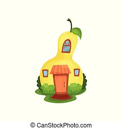 Bright cartoon house in form of yellow pear surrounded by...