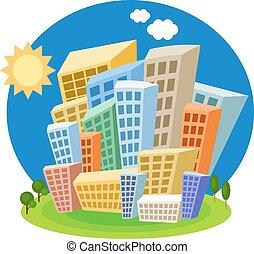Bright cartoon houses