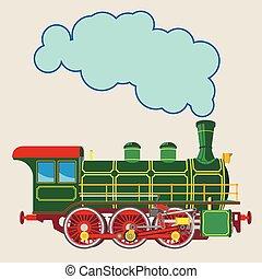 Bright cartoon steam locomotive