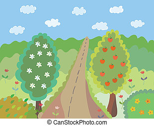 Bright cartoon summer landscape with trees