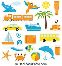 Bright cartoon travel icons