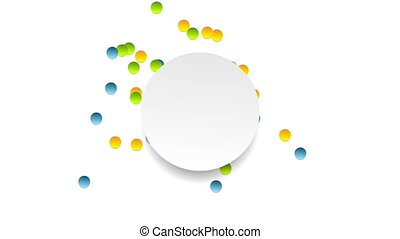 Bright chaotic moving circles animated background. Motion...