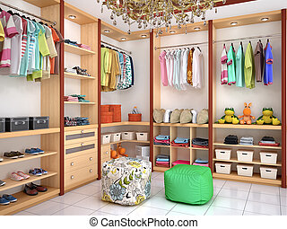 Bright children's dressing room. 3d illustration