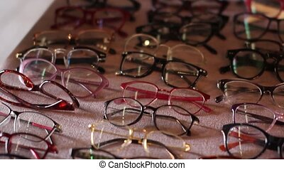 choice of eyeglass frames on the beauty fair