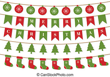 Bright Christmas garlands. Merry Christmas background with xmas bunting flags, balls, christmas trees, socks. Winter holiday design. Vector illustration