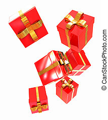 Bright christmas gifts on a white background