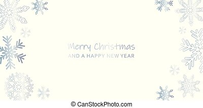 bright christmas greeting card with snowflakes and white backgro