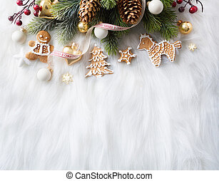 Bright Christmas; Holidays background with Xmas decoration and Christmas tree