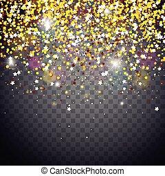 Bright Christmas Lights Illustration on a Dark Transparent Background. EPS 10 Vector Design