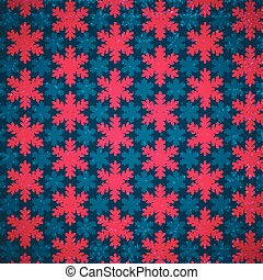 Bright Christmas pattern with red and blue snowlakes.