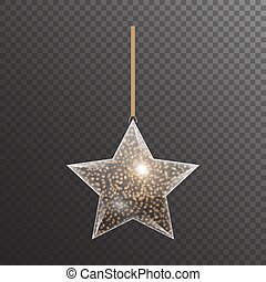 Bright transparent star with gold sparkles for Christmas decor. Vector illustration for decorating greetings with light effects.