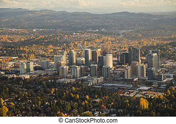 Bright City at Sunset on Calm, Clear Day - Aerial view of ...