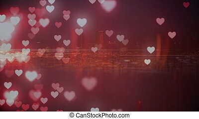 Bright city with hearts