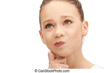 pensive teenage girl - bright closeup picture of pensive...