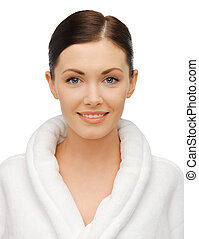 beautiful woman in bathrobe - bright closeup portrait ...