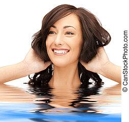 beautiful woman in water