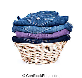Bright clothes in laundry basket
