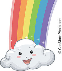 Bright Cloud Mascot with Rainbow