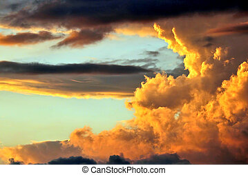bright clouds in the sunset