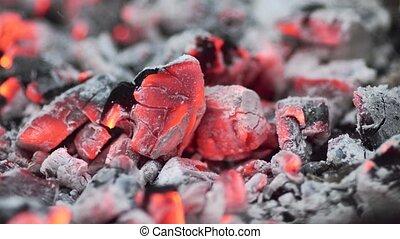 Bright coals, the fire close-up