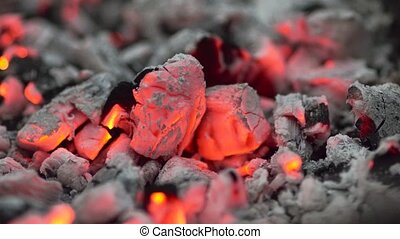 Bright coals, the fire close-up
