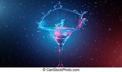 Bright cocktail with lemon in glass, splashing water