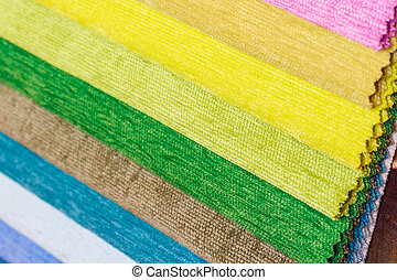Bright collection of colorful textile samples