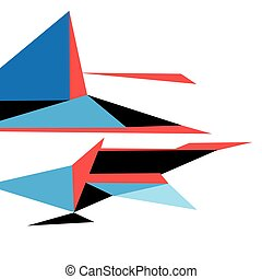 Bright color abstract shape from triangles on a white...