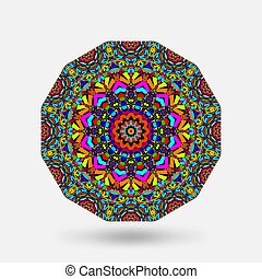 Bright color circular kaleidoscope pattern. Vector ...