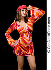 Bright color outfit - Attractive young woman with brown hair...