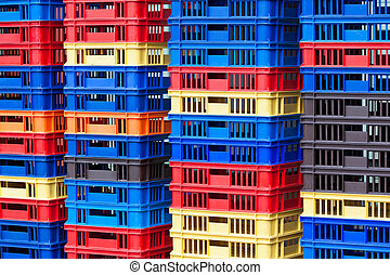 Plastic Containers Piles - Bright Color Plastic Containers...