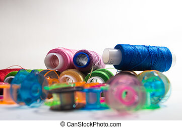 bright color sewing spools
