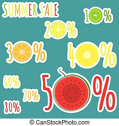 Bright color summer sale stickers with fruits zero circles in numerals
