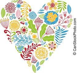 Bright color vector heart. Naive drawing. Card.